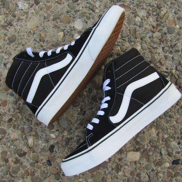1bf135761e Vans Shoes - Vans Black   White High Tops Size 7 Women 5.5 Men